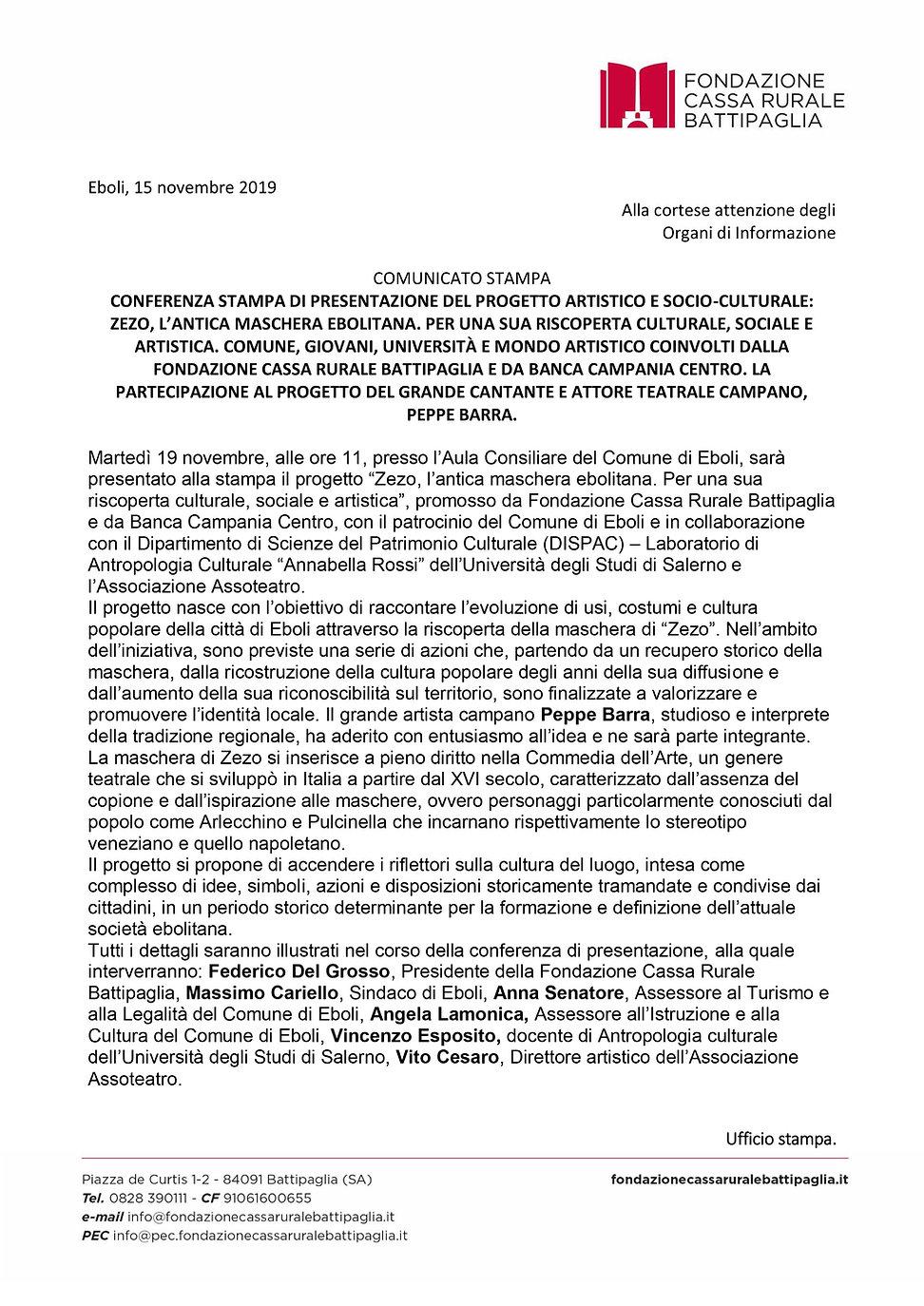 Comunicato Stampa Eboli 19 nov Fondazion