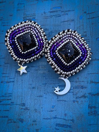 Purple Moon Star Studs