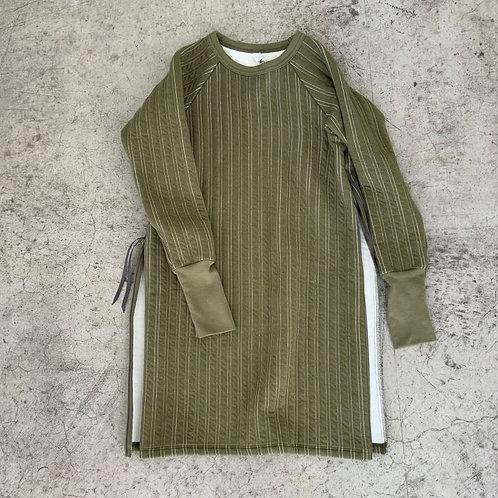 stripe quilt side slit dress