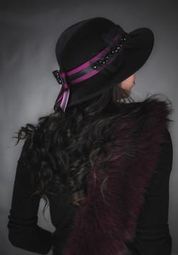 Burgundy and black beaded Hat Belt.