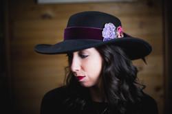 Velvet Wine Floral Hat Belt