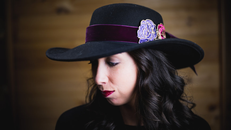 Velvet Wine Floral Hat Belt