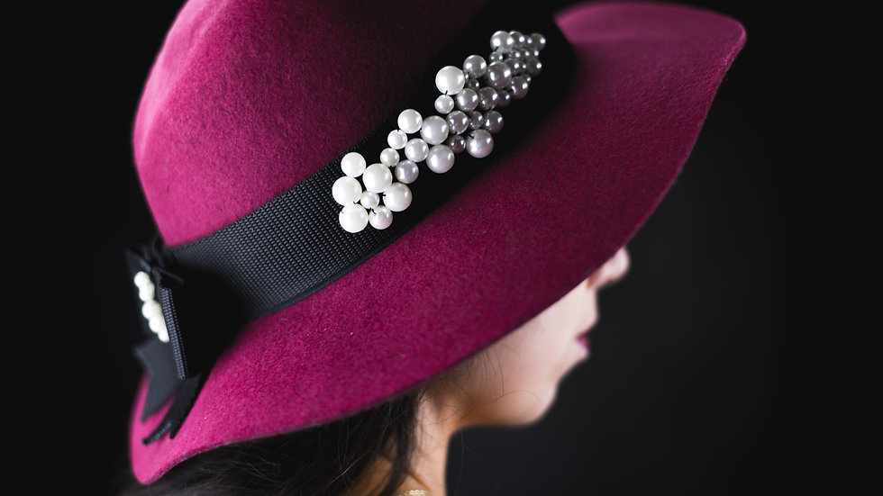 Pearl Bow Hat Belt