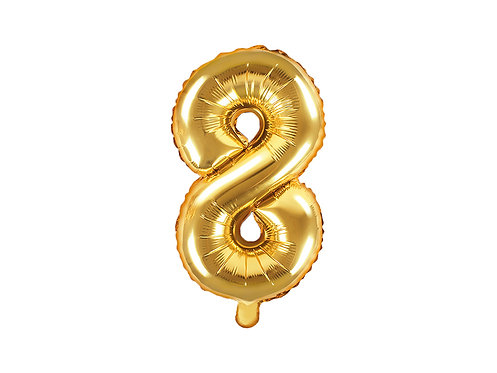"Folieballong ""8"" Gull 35cm"