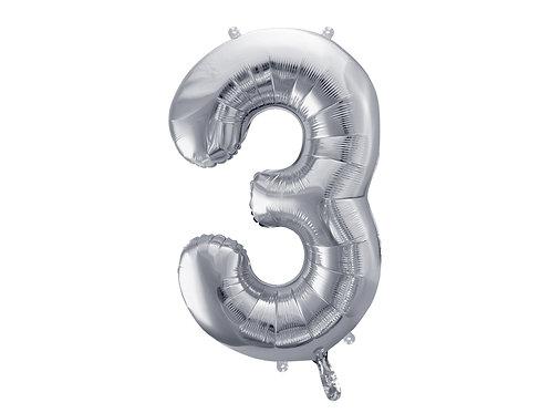 """Folieballong """"3"""" Sølv 86cm"""