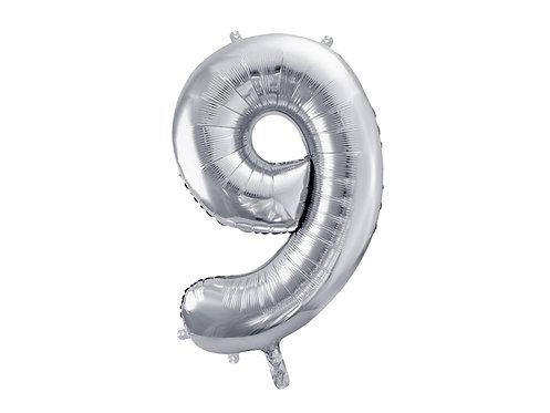 """Folieballong """"9"""" Sølv 86cm"""