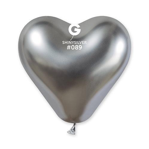 089 Heart Shiny Silver