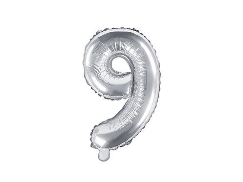 """Folieballong """"9"""" Sølv 35cm"""