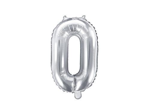 """Folieballong """"0"""" Sølv 35cm"""