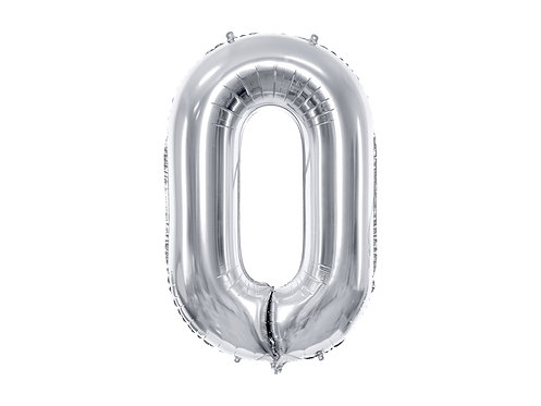 """Folieballong """"0"""" Sølv 40cm"""