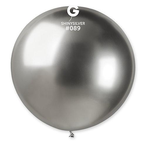 089 Giant Balloon Shiny Silver 80cm