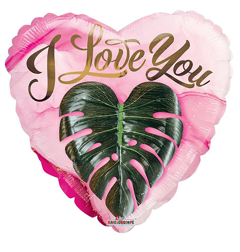 Eco Ballong Love You Heart Leaves