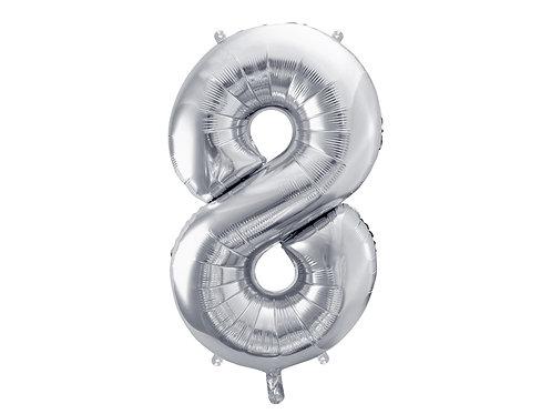 """Folieballong """"8"""" Sølv 86cm"""