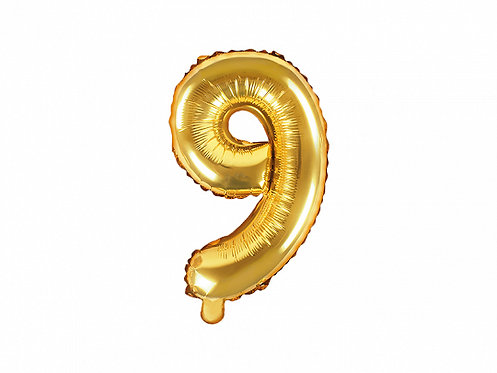 "Folieballong ""9"" Gull 35cm"