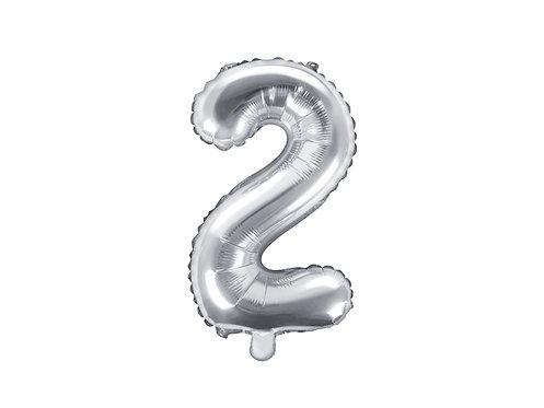 """Folieballong """"2"""" Sølv 35cm"""