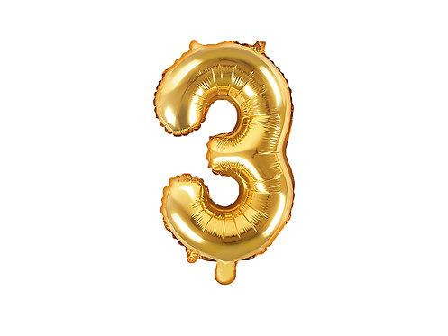 "Folieballong ""3"" Gull 35cm"