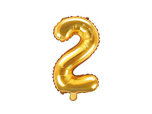 "Folieballong ""2"" Gull 35cm"