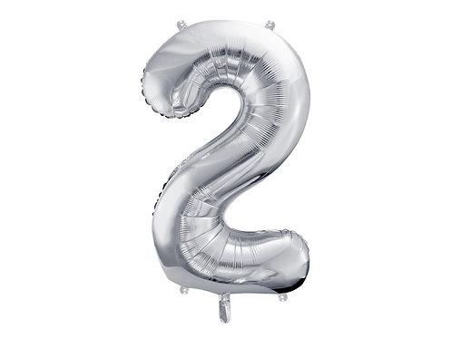 """Folieballong """"2"""" Sølv 40cm"""