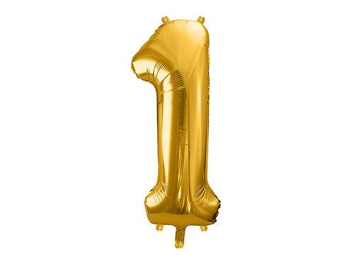 "Folieballong ""1"" Gull 86cm"