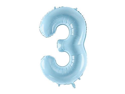 """Folieballong """"3"""" Blå 86cm"""