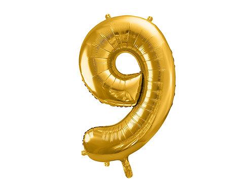 "Folieballong ""9"" Gull 40cm"