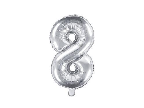 """Folieballong """"8"""" Sølv 35cm"""