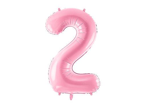 """Folieballong """"2"""" Rosa 86cm"""