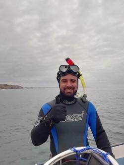 Francisco na sua primeira sessão de águas abertass