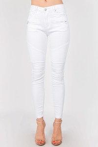 Grayce White Moto Jean