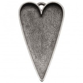 w/ portrait Antiqued Silver Plated Pewter Large Heart Pendant