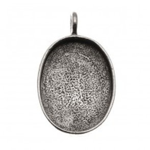 w/ portrait Antiqued Silver Plated Pewter Oval Pendant