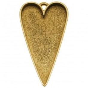 w/ prtrait 24 kt Antique Gold Plated Heart Pendant