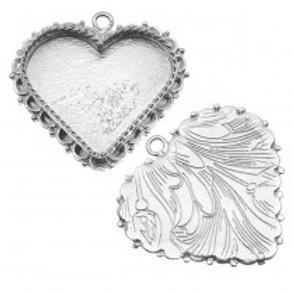 w/ portrait Silver Plated Beaded Heart Pendant