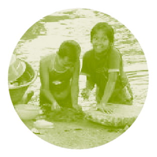 Children washing clothes in river