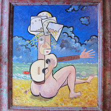 Reclining Guitarist With Jellyfish Hat