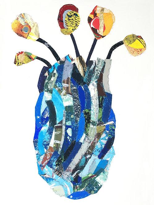 Blue vase with Flowers (Florero azul con flores)