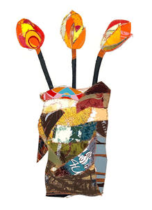 Light Brown Vase with Orange Flowers