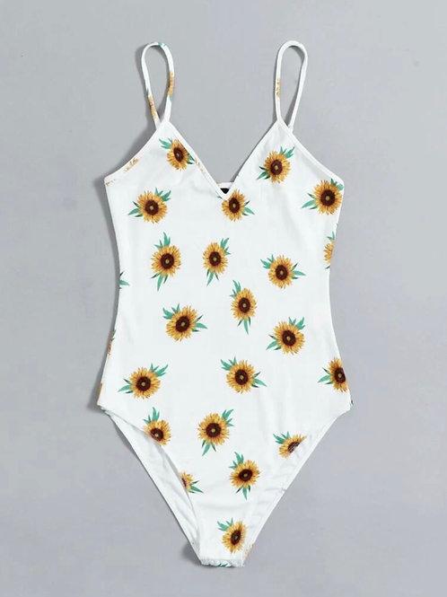 White Sunflower Print Bodysuit