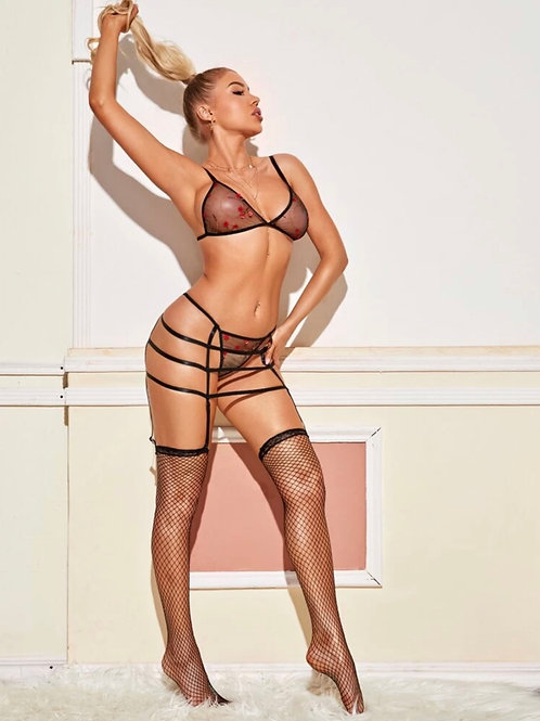 Mesh Embroidered Lingerie Set w. Stockings
