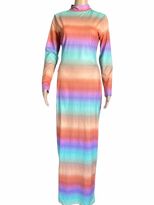 Graphic Pastel Colors Dress