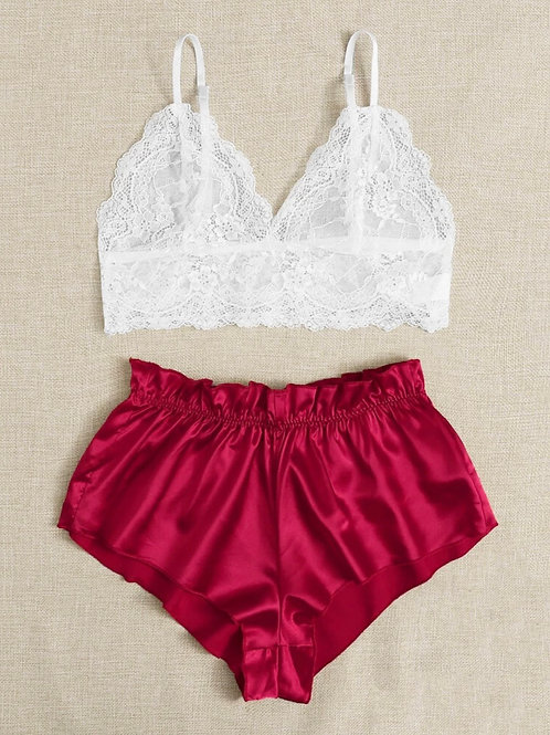 Floral Lace Set with Red Satin Shorts