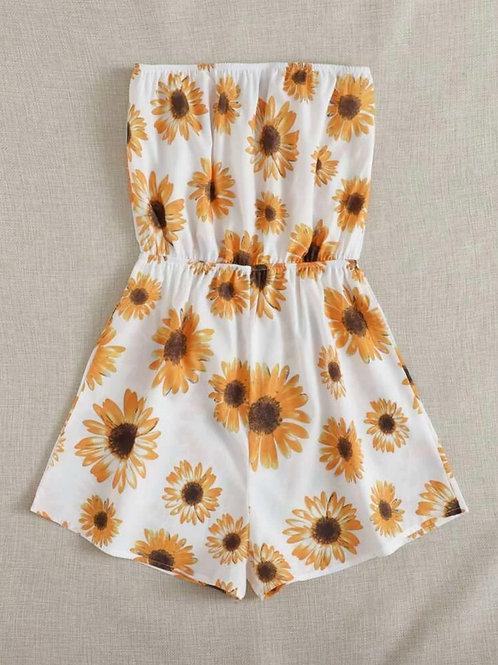 White Sunflower Print Romper 🌻