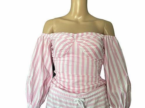 Pink Stripe Sleeve Off Shoulder Top