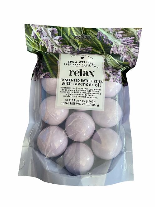 Ten Scented Lavender Oil Bath Fizzies Set
