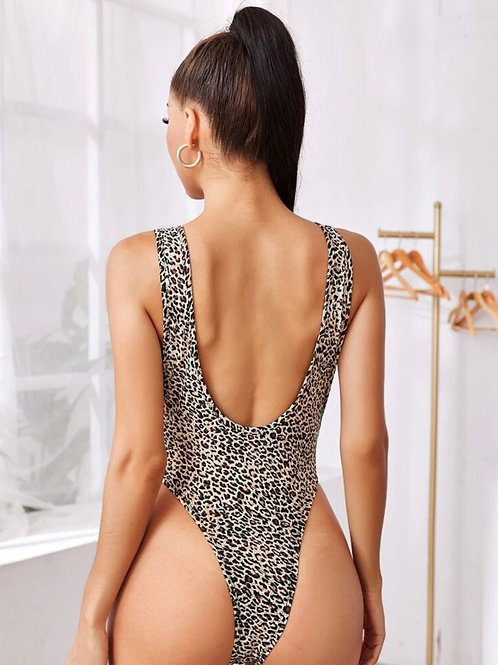 Leopard Print High Leg Bodysuit