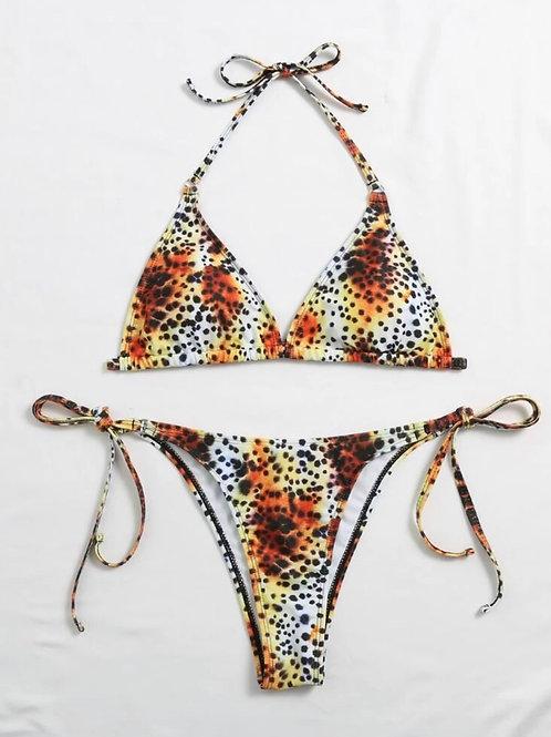 Graphic Polka Print Bikini