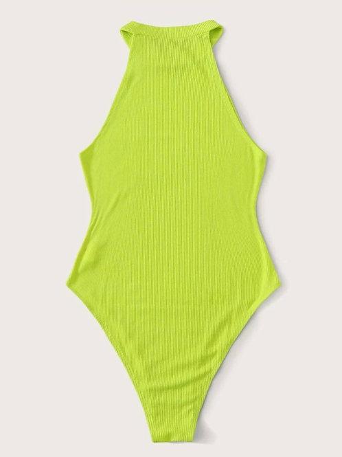 Neon Lime Halterneck Bodysuit