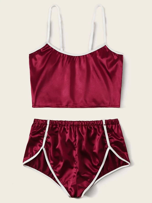 Burgundy Satin Lingerie Set