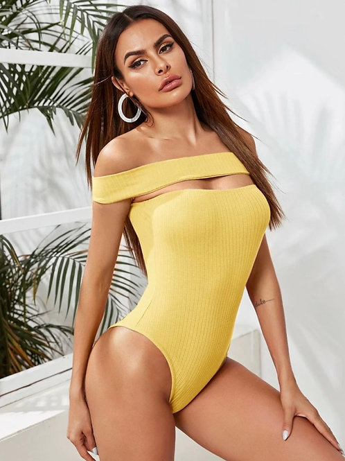 Yellow Cut out front Bodysuit