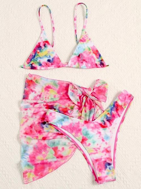 3Pcs Tie Dye Bikini Set w. Beach Skirt
